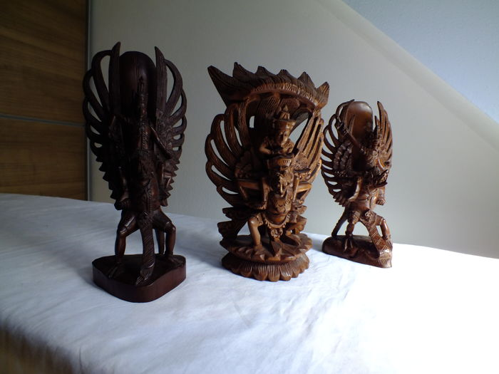 3 wooden Garuda images - Bali - Indonesia - 2nd half 20th century