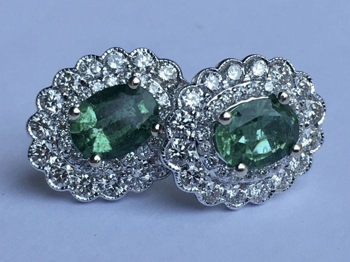 18Ct White Gold Emerald (2.27 ct.) and Diamond (1.70 ct.) Earrings