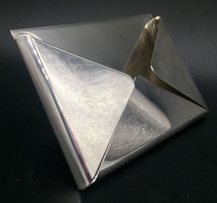 Envelope-shaped desktop business card holder in sterling silver 925 Italy - 20th century