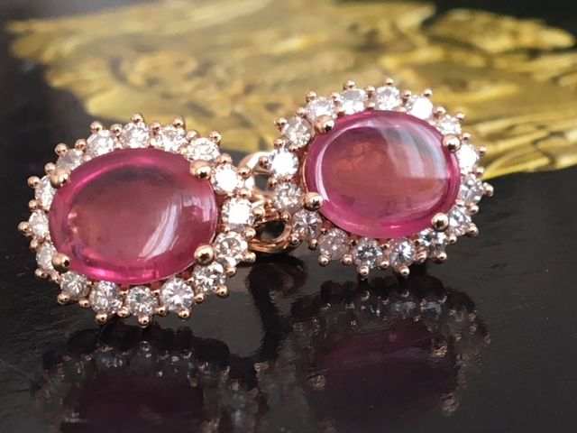 High-quality 18 kt rose gold ear studs with in total approx. 1.15 ct of diamonds and approx. 5.00 ct of tourmalines!