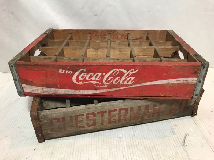 Two original vintage crates from the USA, Coca-Cola Chesterman - 1970s