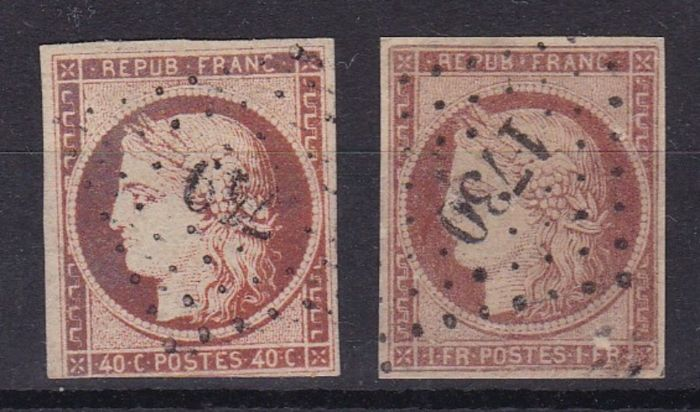 Francia 1849/1850 - Ceres 40c and 1Fr - Yvert 5 and 6