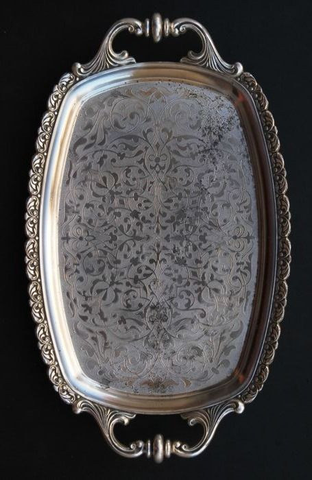 Antique Brevettato Silver Plated Large Serving Tray Made in Italy