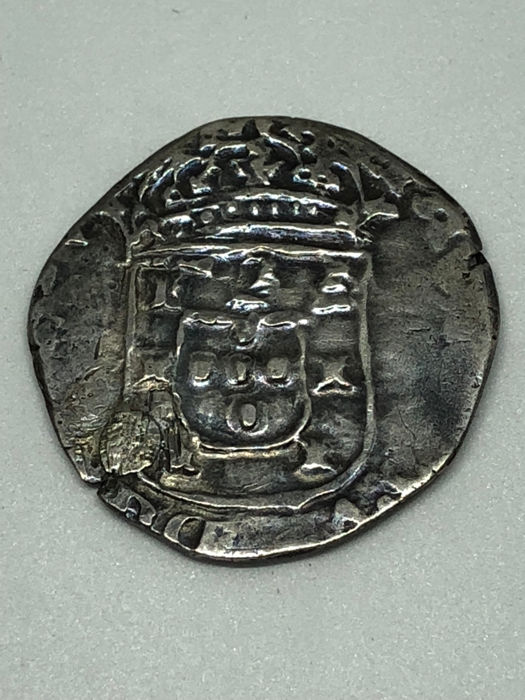 Portugal - Monarchy - D Afonso VI (1656-1667) Tostão (100 Reis) - Lisbon - Loose Cross- Rare - Covered Hole - Silver