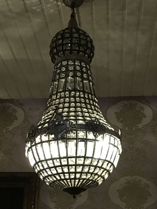 Large size chandelier - metal and glass - late 20th century
