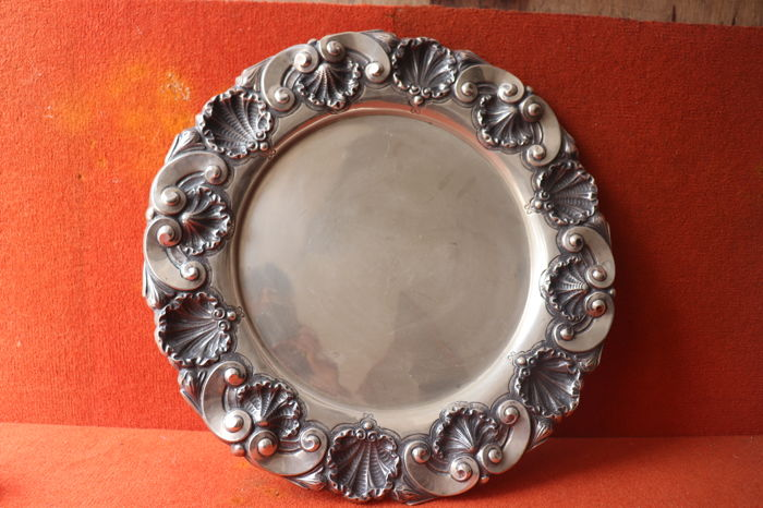 Large ( 45cm)  Silver tray - eagle mark 916 - 855 gr , Portugal early 20th century