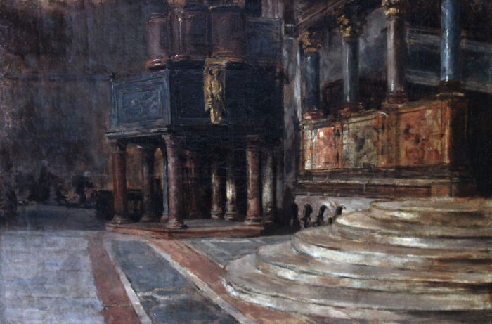 Follower of John Singer Sargent ( 1856 –1925) - Inside St Mark's Basilica, Venice Oil on canvas