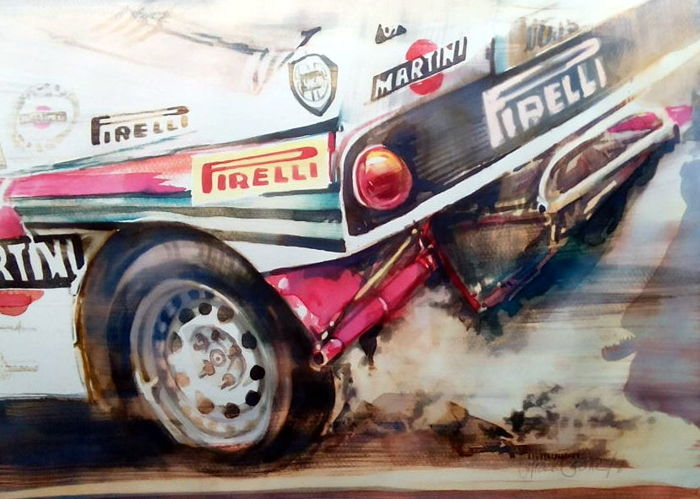 Original watercolor by Gilberto Gaspar - Lancia Rally 037 - 2018 (1 objetos)