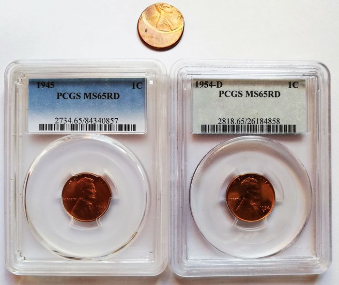 Estados Unidos - Lot of  Cent Cent 1945 and 1954D in PCGS Slab + Cent 198? (Error Strike)