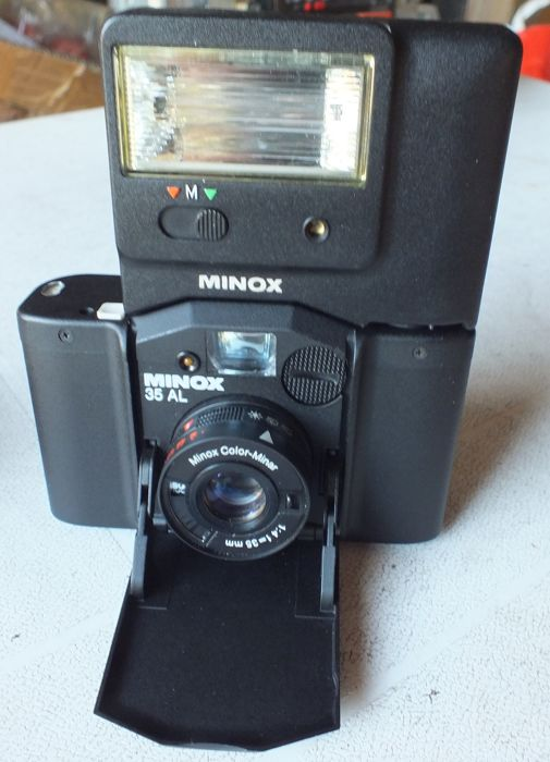 Old camera Minox 35 AL + Minox FC 35 Flash with original leather bags