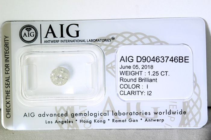 * NO RESERVE PRICE * - AIG Antwerp Sealed Diamond - 1.25  ct - I, I2