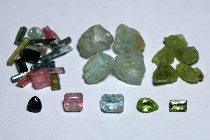 Collection of Tourmaline,  Aquamarine, Peridot Before and After - - - 50 ct.