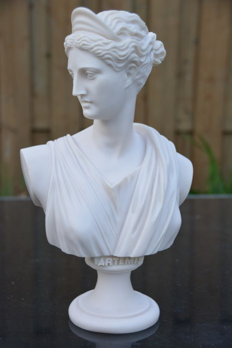 Beautiful big bust of Artemis, the goddess of the hunt