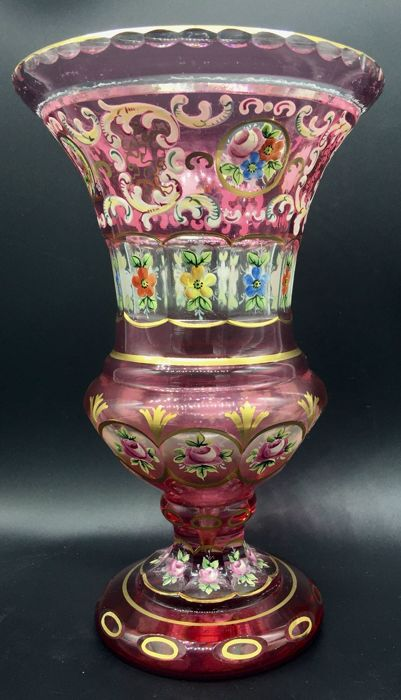Large, hand painted crystal vase, in perfect condition, Austria, Early 20th century