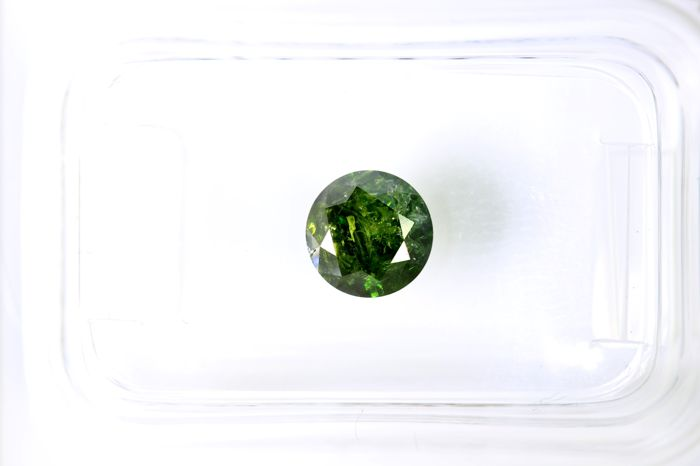 Fancy Deep Yellowish Green  Diamond - (Colour Treated) - 0.84 ct
