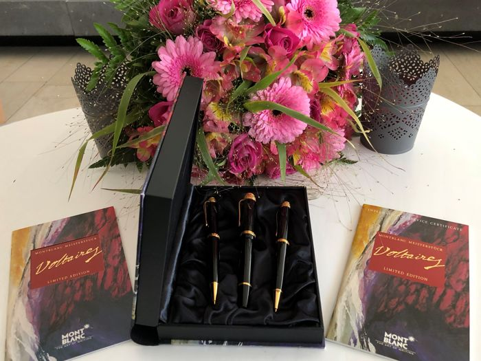 Montblanc limited edition VOLTAIRE SET of 3 GREAT RARE fountain pen, ballpoint pen, pencil with book, etc.  NEW NEW NEW
