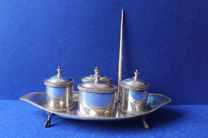 Silver inkstand  - Lisboa coroa mark - 678gr - signed Portugal 19th century