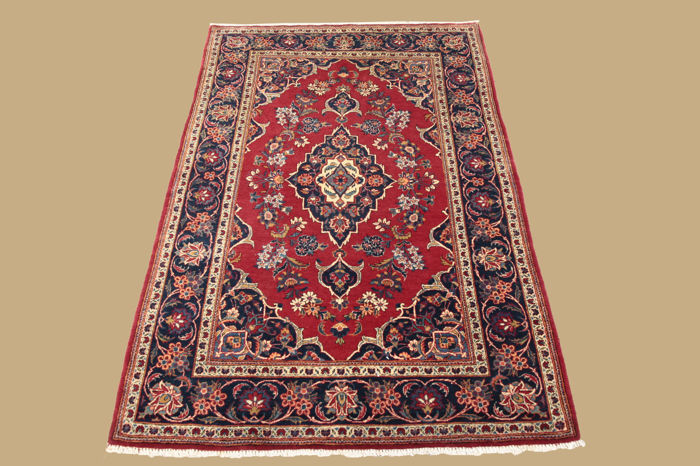 Old hand-knotted Persian carpet, Keshan, approx. 157 x 103 cm
