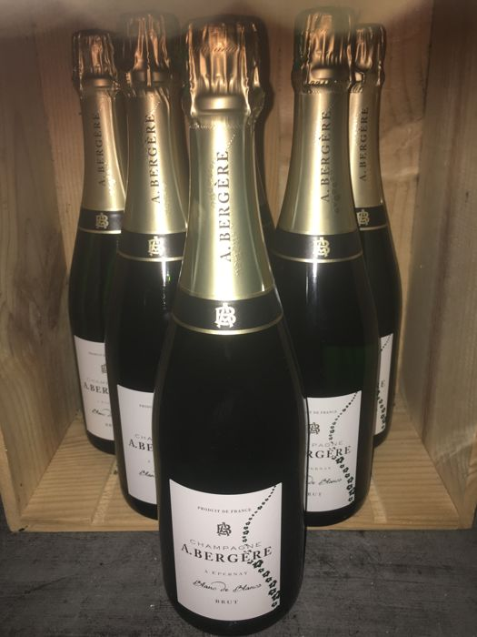 Champagne Blanc de Blancs, A. Bergere - lot of 6 bottles