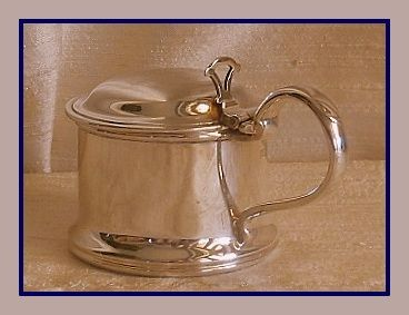 Sterling silver barrel mustard pot w/ blue glass liner, William Suckling Ltd., 1963