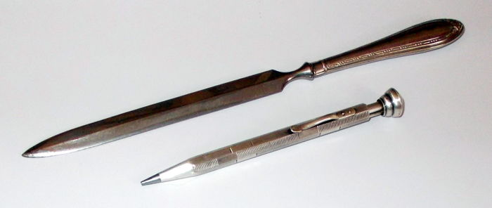 Vintage – Silver Mechanical Lead Pencil  and Letter Opener – first half of 20th Century