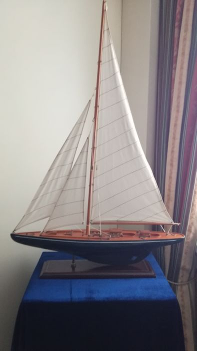 Self-built wooden model sailing boat