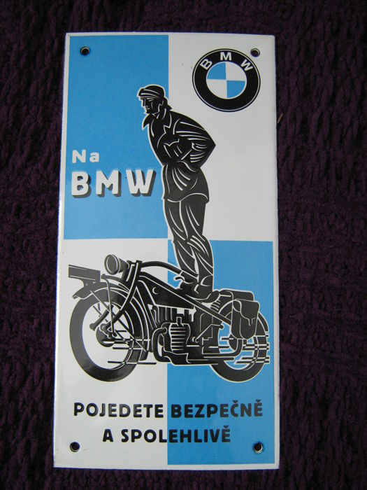 Enamel sign - BMW motorcycles - late 20th century