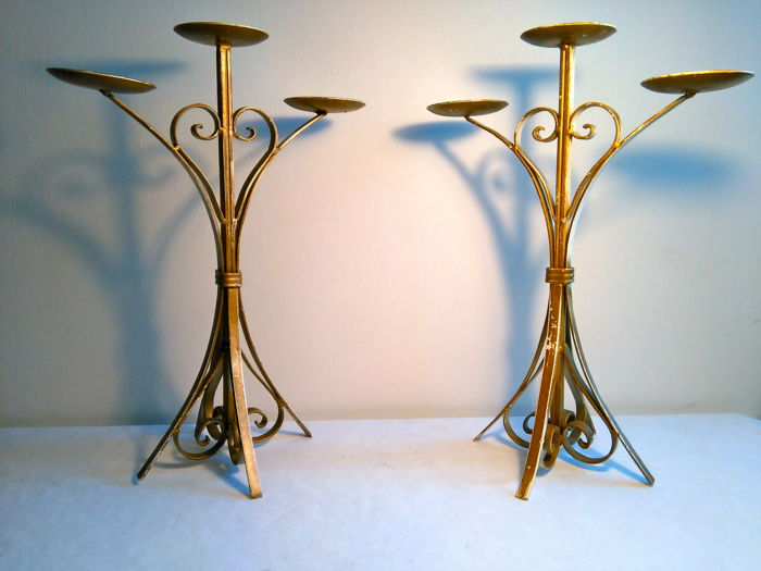 Pair of three-flame candlesticks in wrought iron - 1950, Italy - Wrought iron