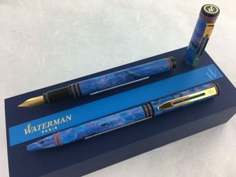 Waterman Forum set fountain pen + ball pen blue marbled