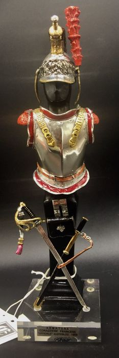 Armor in sterling silver 925 and enamels, with supporting stand. Italy - 20th century