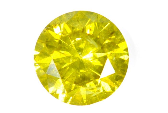 * NO RESERVE PRICE * - Fancy Deep Greenish Yellow Diamond - ( Color Treated ) - 0.46 ct - Excellent Cut