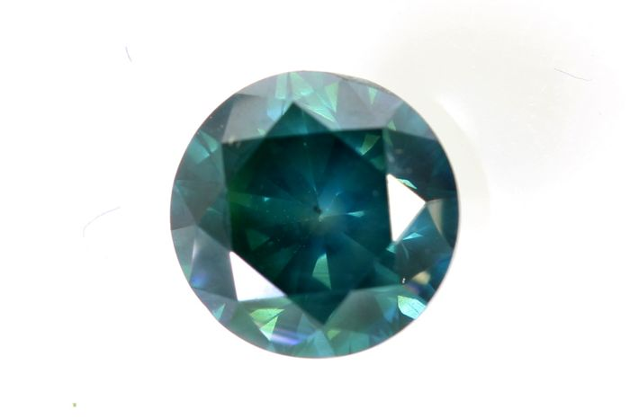 * NO RESERVE PRICE *  AIG Sealed Antwerp - Fancy Deep Greenish Blue Diamond - 1.05 ct - SI2 (Treated)