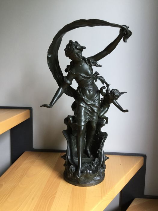 Auguste Moreau (1834-1917) - Le char de jeunesse - Spelter sculpture - end of the 19th century