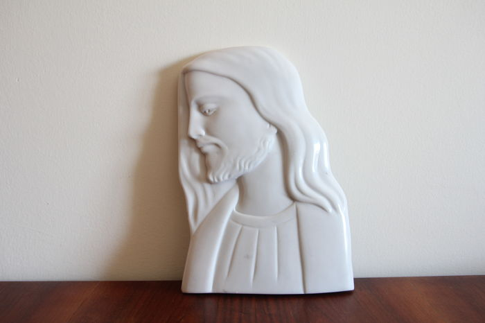 Carrara marble bas-relief depicting Christ's profile - Italy - 1960