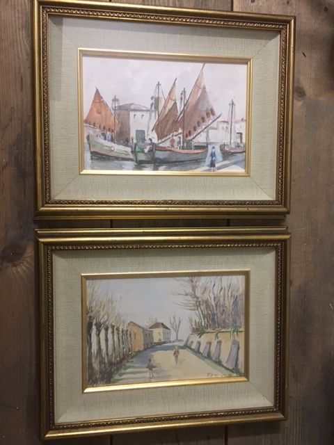 Pair of 1960s watercolours by F. D' Alvise (Tuscan painter) complete with frames