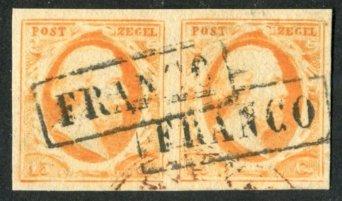 Netherlands 1852 - King William III First emission - NVPH 3 in paar