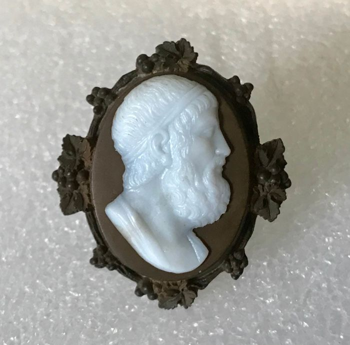 Antique brooch with ebonite and glass cameo, 19th century