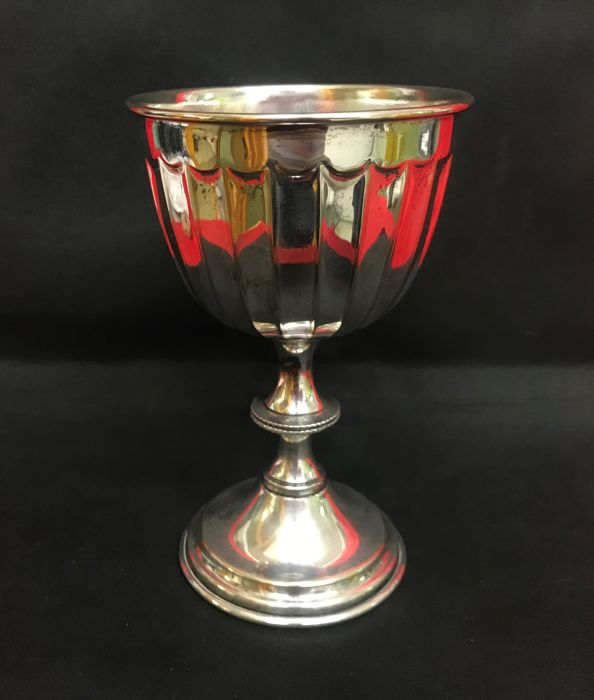 Silver plated liturgical chalice with ribbed decoration - Italy - 19th century