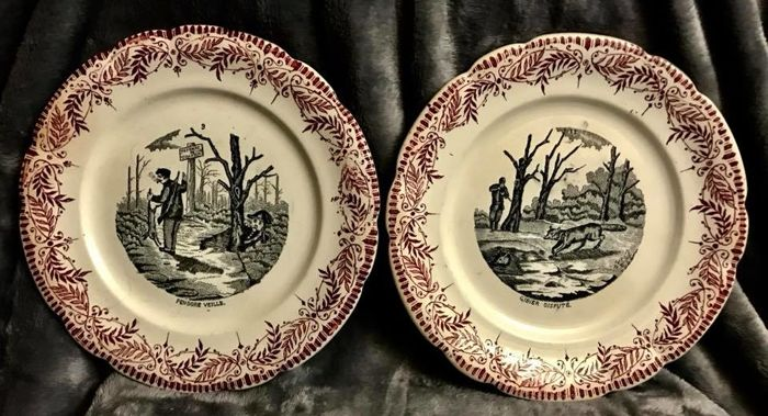 A pair of , 19th Century , French , Hunting , plates , Circa 1840 ...