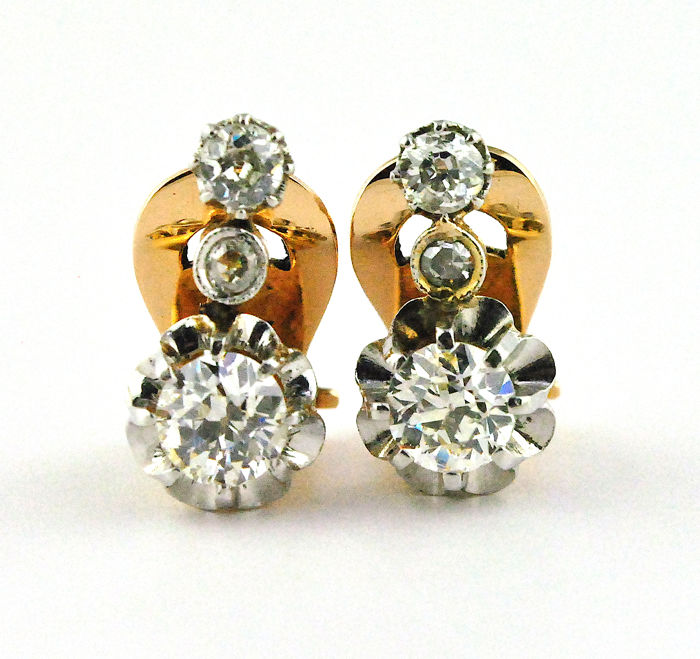Antique Diamond Earrings made of 18karat Yellow Gold with Clip on attachments