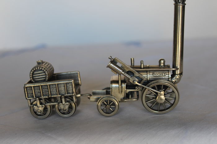 Miniature, 800/1000 burnished silver Rocket Locomotive, hallmarked UnoAErre Italy, 2nd half of the 20th century