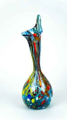 Imperio Rossi (Murano) - Aquamarine Murrina and Silver Calla Vase