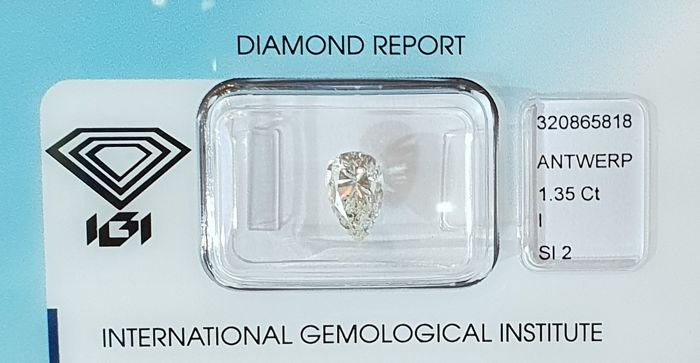 IGI CERTIFIED, SEALED, 1.35 ct, pear shape diamond, SI2, I