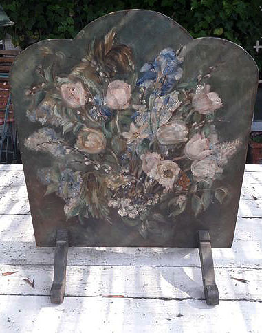 Hand painted wood fireplace cover