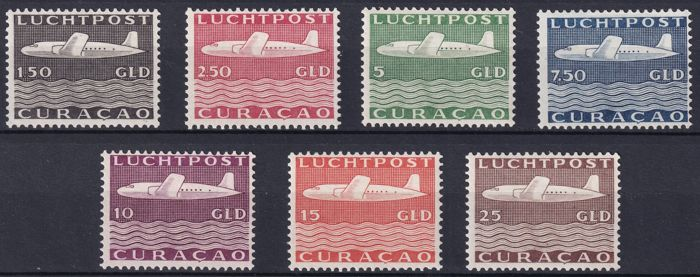 Curaçao 1947 - Air Mail Plane - NVPH LP82/LP88