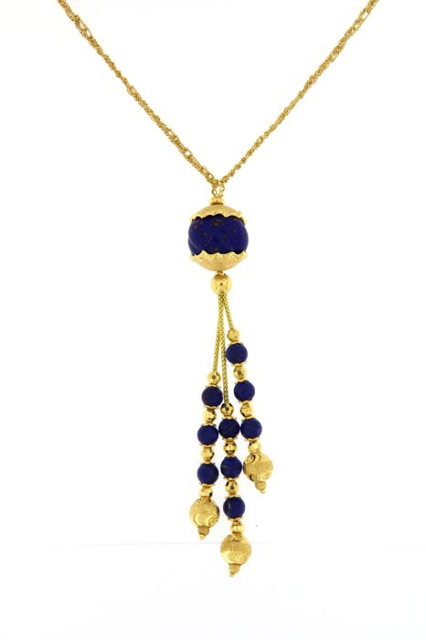 Outstanding necklace with lapis lazuli - Interwoven links of 18 kt / 750 yellow gold - Weight: 26.1 grams - Necklace length: 43 cm - Pendant length: 10 cm