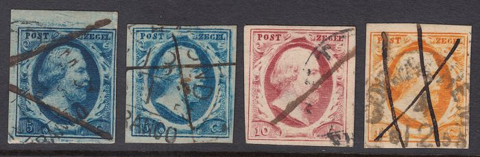 Netherlands 1852 - King William III, pen destruction - NVPH 1/3