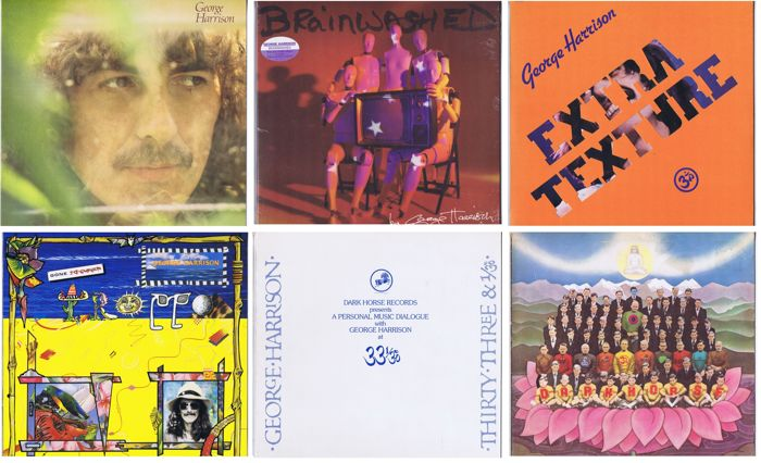 George Harrison - lot of 6 original LP's in wonderful quality: Dark Horse (1974), Brainwashed (2002), Gone Troppo (1982), A Personal Music Dialogue (1976 promo only), George Harrison (1979), Extra Texture (1975)