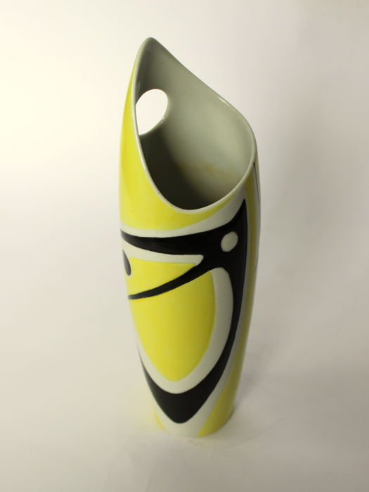 "Zsolnay - Hand painted vase with ""BIRD"" decor"