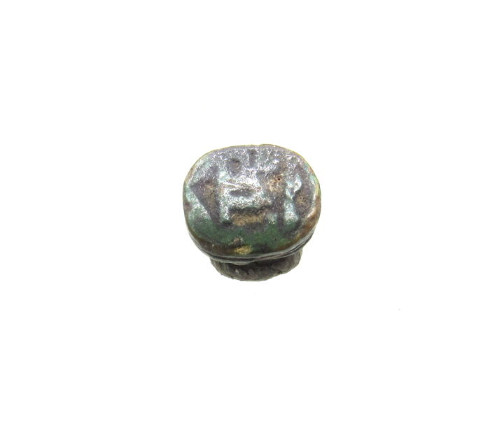 Ancient Egyptian Speksteen Scarab Bead With Hieroglyphs - 1cm